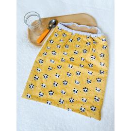 Serviette elastiquee pandas jaunes