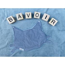 Bavoir chat pois blanc et fond gris