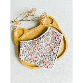 Bavoir bandana fleurs des champs rose