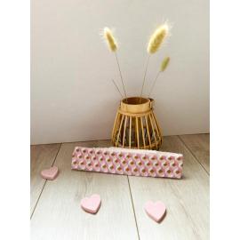 Bandeau cheveux petits cubes roses et dorés