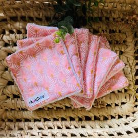 Lingettes démaquillantes lavables éventails rose et dorés