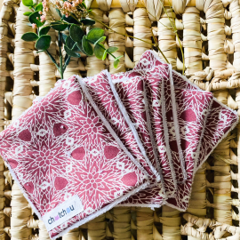 Lingettes démaquillantes lavables fleurs bordeaux