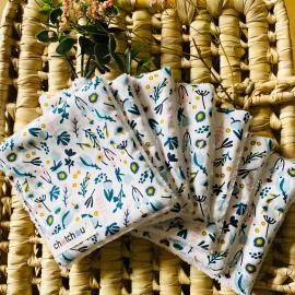 Lingettes démaquillantes lavables fleurs vert et rose